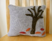 Falling Leaves Grey Felted Wool Accent Pillow with Applique