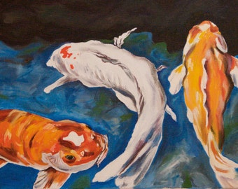 """Koi Fish 13 3/4""""x10 3/4"""" x1/2"""" white border for raming fine art archival print.  Featured on this seasons tv Hawaii 50 background scenes"""