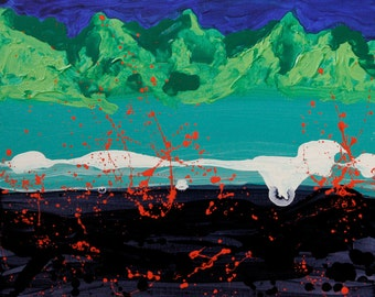 """Sale  Lava Eruption II 16""""x20"""" original acrylic painting on stretched canvas"""