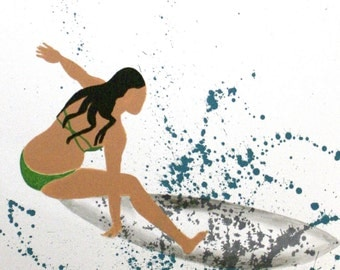 """Surfer Girl I 5""""x7"""" archival print with 8""""x10"""" fine art double matted print on luster paper with archival inks."""