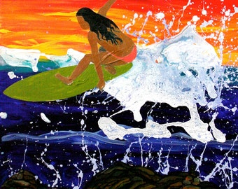 """Surfer Girl Rocks 5""""x7"""" archival  print on 8""""x10"""" dlouble matted print. archival luster paper"""