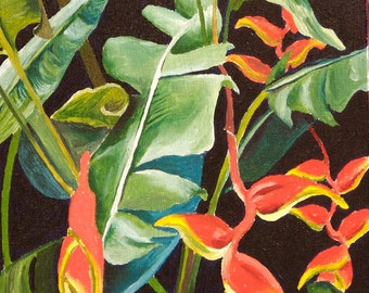 """Manoa Heliconia  5""""x7"""" archival fine art print with 8""""x10"""" double matting in white with black trim."""