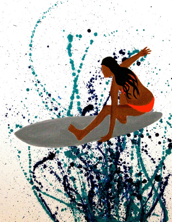 "Made to order commission surfer girl IV 18""x24"" gallery wrapped 2"" sides original acrylic painting. ready to hang."