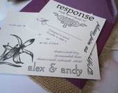 Iris Love - Rustic Wedding Invitation SAMPLE - with Flower motif and purple, burlap and kraft details
