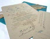Romantic Tree - Rustic Wedding Invitation SAMPLE - with Teal, Gray and Gold Details on Kraft Paper