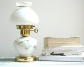 White Vintage Table Lamp With Pink Flowers