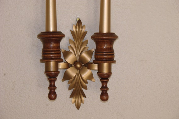 Vintage Candle Wall Sconce Wood & Gold Toned Metal