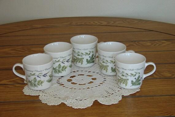 Corelle HERBS Stoneware Mugs - Set of 5 Vintage Mugs