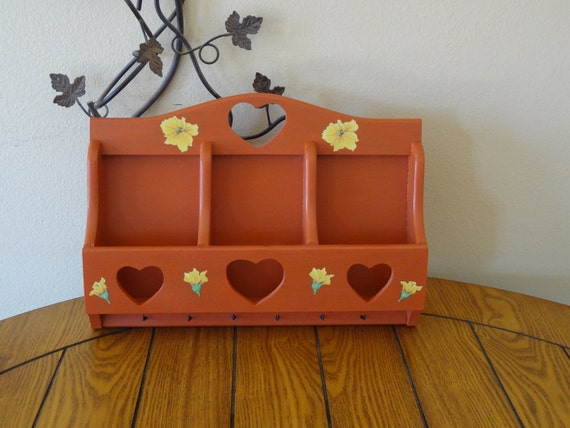 Upcycled Vintage Wooden Farmhouse Mail and Key Organizer