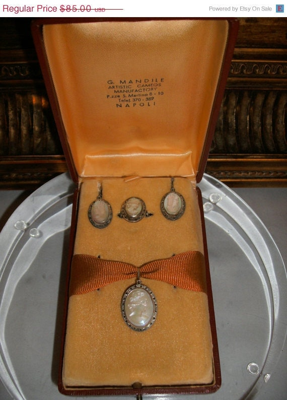 ON SALE Vintage Mother of Pearl Cameo Set in Original Box