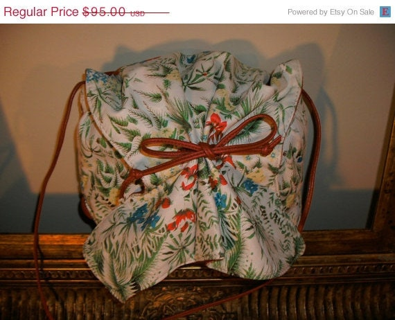 25% OFF SALE Reserved for Anita Vintage 1980's Carlos Falchi Floral Printed Leather Buffalo Bag