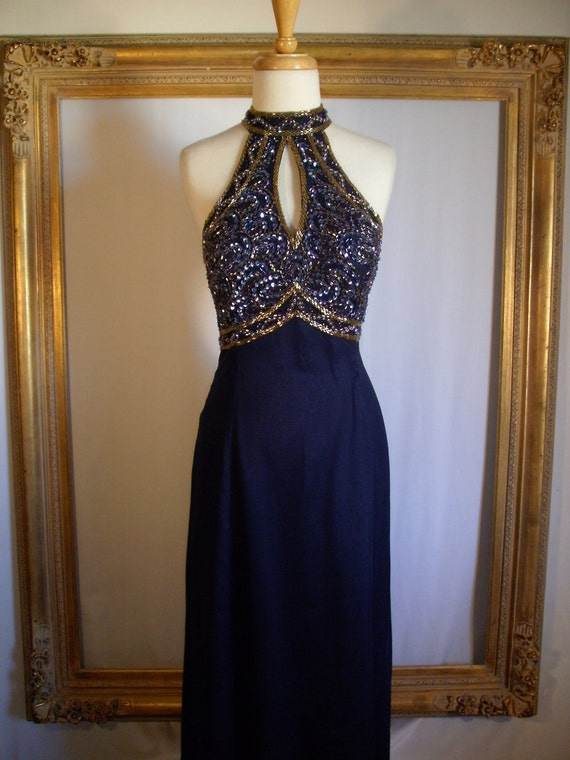 Navy Blue Silk Evening Gown with Halter - Size 18