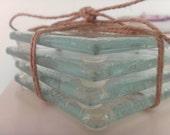 Set of 4 Handmade Glass Fused Coasters