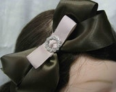Custom crystal buckle double satin bow hairband - Your choice of and color bands & ribbon - black, gold or sliver