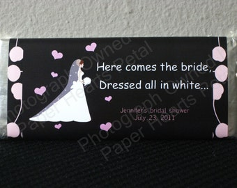 Customized Bridal Shower Candy Bar Wrapper Pink & Black, printed pack of 25 wrappers - foil wrappers included
