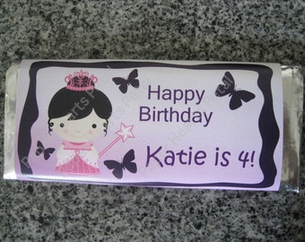 Customized Princess Birthday or Baby Shower  Candy Bar Wrapper, Printed pack of 25 wrappers - Foil wrappers included