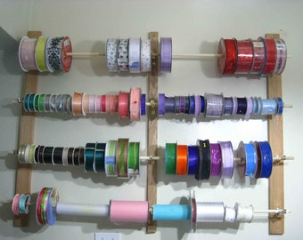Made to Order - Custom Wall Ribbon Storage Rack for Crafts and more - fits spools with centers of half an inch