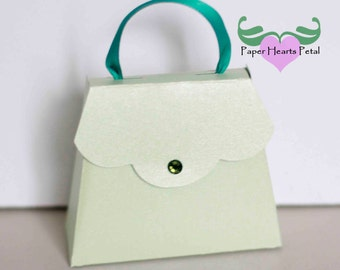 DIY Party, Wedding, Birthdays, & Showers -  Purse Favor Box with Flap Closure - Preassembled option available - 12 boxes per pack