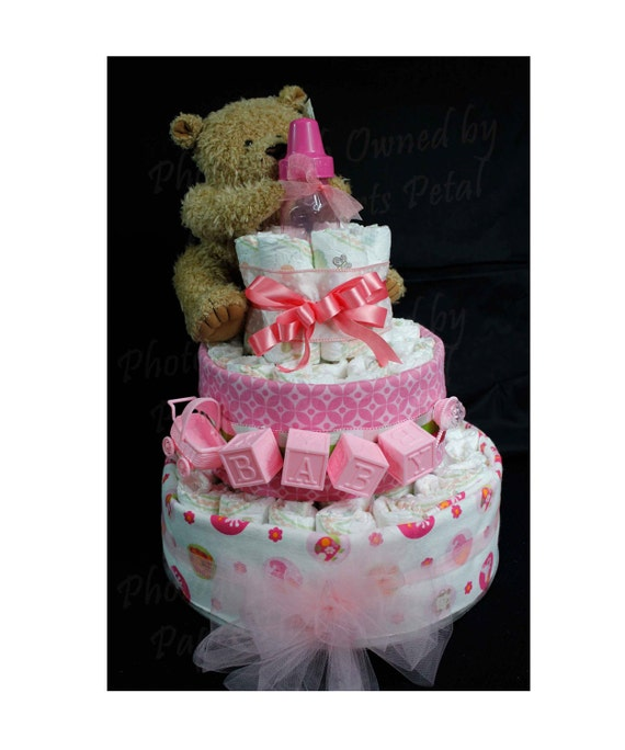 Pink Baby Girl Diaper Cake with Teddy Bear & Safari Jungle Animal Receiving Blankets