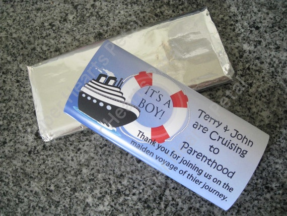Customized Nautical Ship Baby Shower / Birthday Candy Bar Wrapper,  Printed pack of 25 wrappers - Foil wrap included