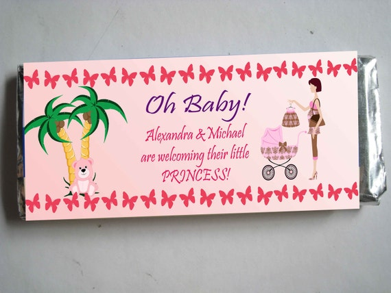 Customized California Girl Mommy-to-be Baby Shower Candy Bar Wrapper, Printed pack of 25 wrappers - Foil wrap included