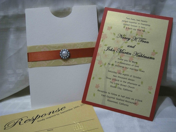 Custom Pocket Brad and Ribbon Cherry Blossom Wedding Invitations with  Response Card