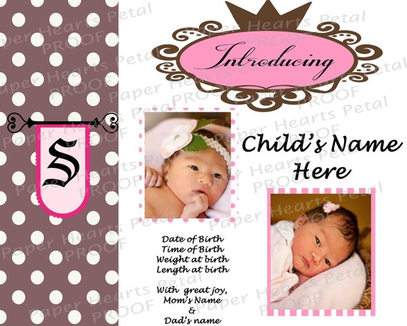 Personalized Pink and Brown Baby Birth Announcement for baby girl - or you Choose your colors - Regal Polka Dots, Royal Princess Theme