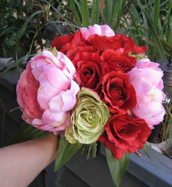 Hand-tied Silk Wedding Bridal Pink Peony, Red Roses, and Green Roses Flower Bouquet