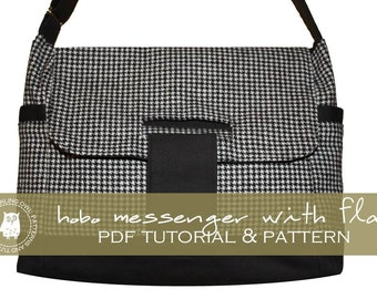 Hobo Messenger Bag with Flap - PDF Tutorial and Pattern