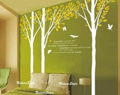 wall decal tree wall decal nursery wall decal baby wall decal children-3 Birch Tree with Flying Birds and Letters-Vinyl Wall Decal,Sticker