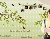 Branch with Flying Birds and Picture Frames -Vinyl Wall Decal,Sticker,Nature Design