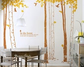 7 Birch Tree with Flying Birds and Letters-Vinyl Wall Decal,Sticker,Nature Design