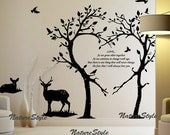 Two Tees with two Deer and Flying Birds -Vinyl Wall Decal,Sticker,Nature Design