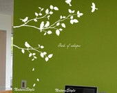 Two Branches with Flying Birds -Vinyl Wall Decal,Sticker,Nature Design