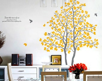 TwoTrees with Flying Birds -Vinyl Wall Decal,Sticker,Nature Design