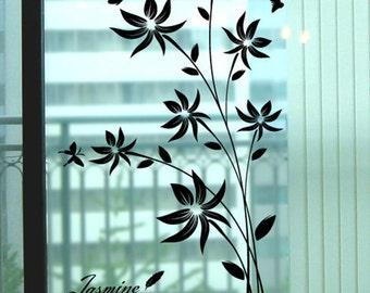 girl nursery wall decals window floral wall decals flower vinyl wall decals sticker children wall decal-Black Flower with Butterflies