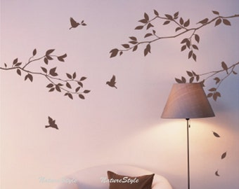 Branch with Flying Birds -Vinyl Wall Decal,Sticker,Nature Design