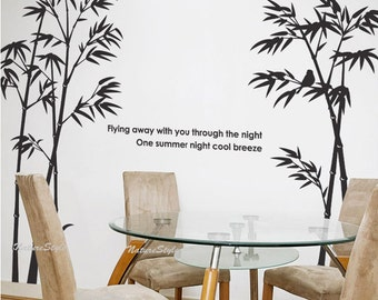 Beautiful bamboo grove with Flying Birds-Vinyl Wall Decal,Sticker,Nature Design