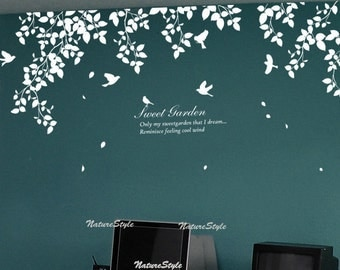 Beautiful branches with Flying Birds-Vinyl Wall Decal,Sticker,Nature Design