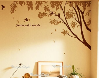 wall decal branch decal birds vinyl sticker wall decal bedroom wall decal nursery - Branch with Flying Birds