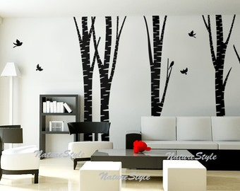 5 Birch Tree with Flying Birds -Vinyl Wall Decal,Sticker,Nature Design