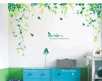 Abstract Flowers with Birds-Vinyl Wall Decal,Sticker,Nature Design