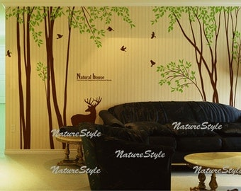 Tree with Flying Birds and Deer-wall decal tree wall decal baby wall decal nursery girl room decal children room decal