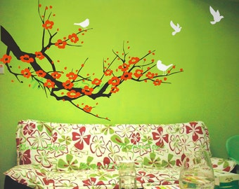 red cherry blossom wall decals birds vinyl wall decals nursery wall decals tree wall mural cherry decor-Plum Blossom with Flying Birds