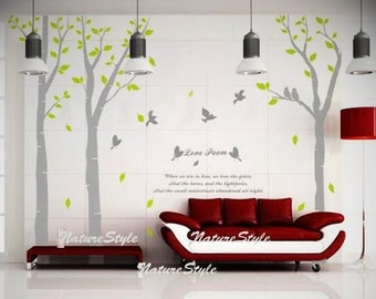 3 Birch Tree with Flying Birds and Letters-Vinyl Wall Decal,Sticker,Nature Design