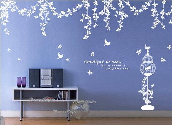 Abstract Flowers with Flying Birds-Vinyl Wall Decal,Sticker,Nature Design