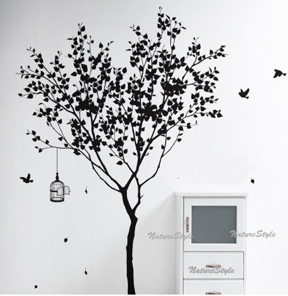 Tree wall decal vinyl stickernature design birdcage birds for Black tree wall mural