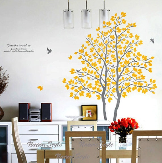 Two Trees with Flying Birds -Vinyl Wall Decal,Sticker,Nature Design