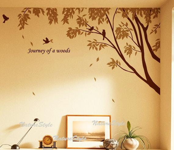 wall decal branch decal birds vinyl sticker wall decal bedroom wall decal nursery - Branch with Flying Birds