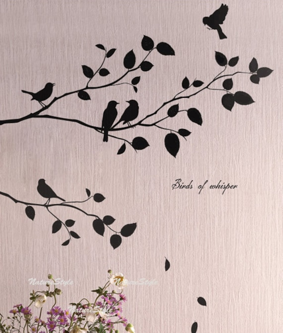 Two branches with flying birds vinyl wall for Bird wall art